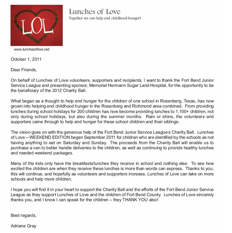 Lunches of Love Letter